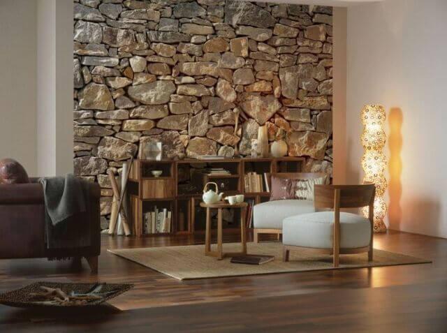 Gạch ốp tường bằng đá thô